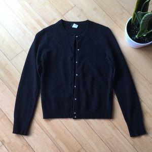 J Crew black wool cashmere knit cardigan sweater